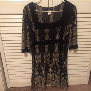 Vanity tribal print dress with square neckline